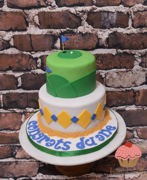 custom cake, butter + vanilla baked goods, calgary custom cakes, two tier cake, golf cake, retirement cake