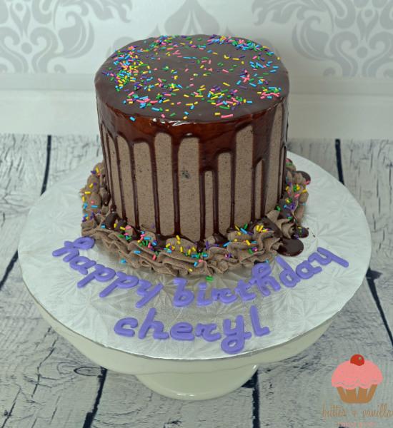 drip cake, cookies n cream, chocolate cake, calgary bakery, butter and vanilla baked goods