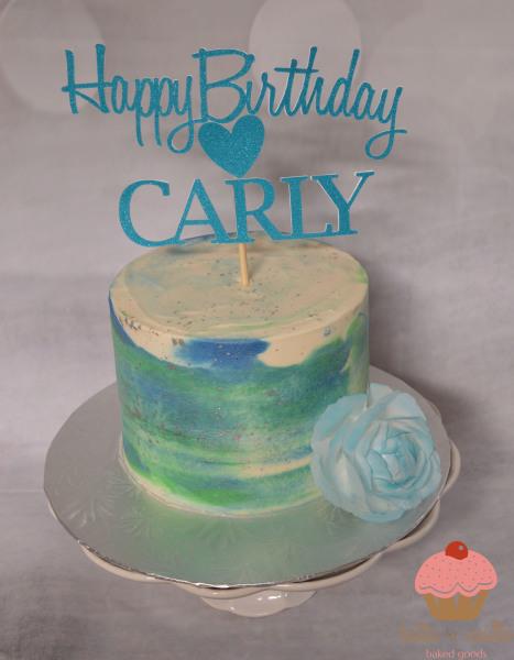 custom cake, butter + vanilla baked goods, calgary custom cakes, birthday cake, watercolor buttercream cake