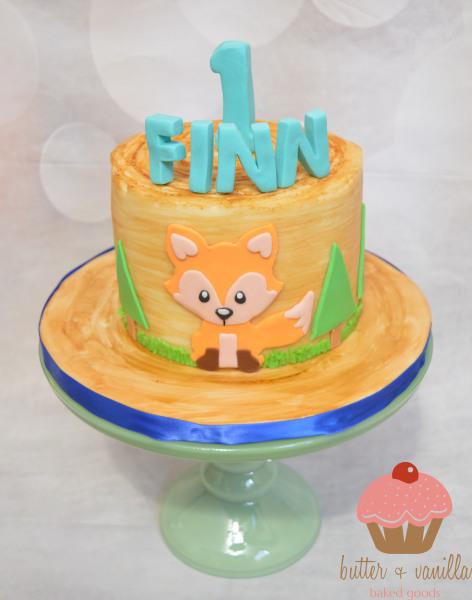 custom cake, butter + vanilla baked goods, calgary custom cakes, birthday cake, fox cake, yyc custom cakes, smash cake