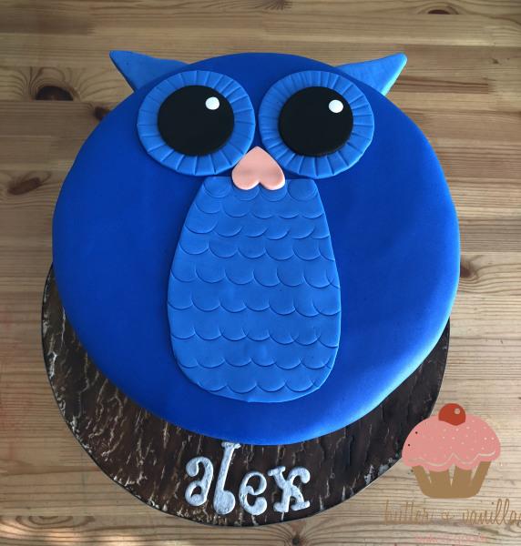 custom cake, butter + vanilla baked goods, calgary custom cakes, birthday cake, owl cake, yyc custom cakes