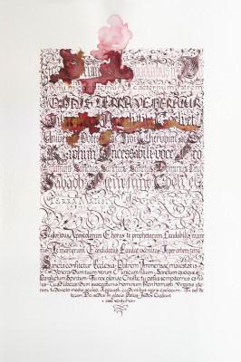 Erika Vincze     Title: Ambrosian (Text & Letter)     Price: Not for Sale    Size: 13.5 x 19.68	Medium: Ink on Fabriano Artistico Paper