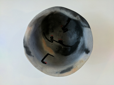 Susan Duhan Felix (In Collaboration with Arash Shirinbab)     Title: Untitled     Price: Not for Sale    Size: 14 x 14 x 5 	Medium: Pit Fired Ceramics and Ink