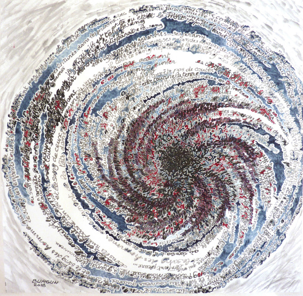 "Elisabeth Burgun; ""Elle tourne la terre"", 26"" x 26"" (not matted), Ink on paper, Colors, $900"