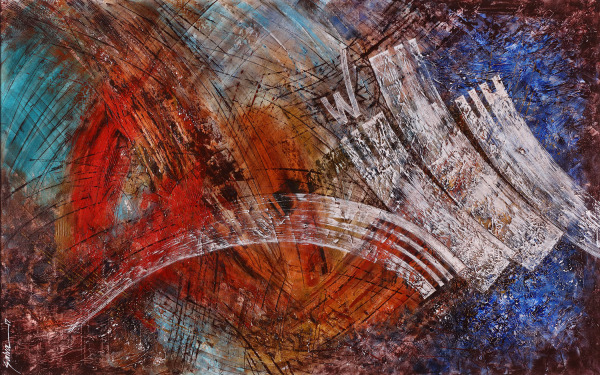 "Salva Rasool; Artwork Details: Allah (God), Size: 30"" x 48"", Mixed media on canvas, $6,200"