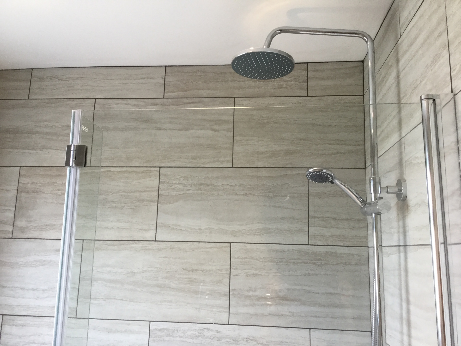 Dual Shower over L-shaped bath