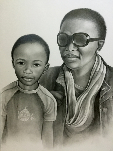 Mother and daughter, pencil