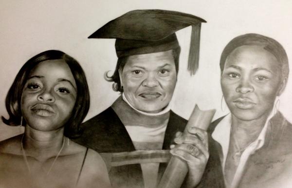 graduation triple portrait