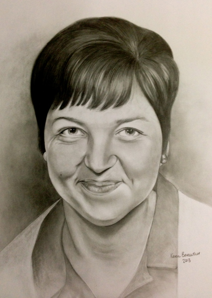 smiling lady, pencil