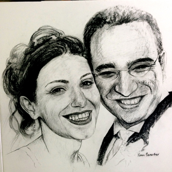 Bridal couple, charcoal