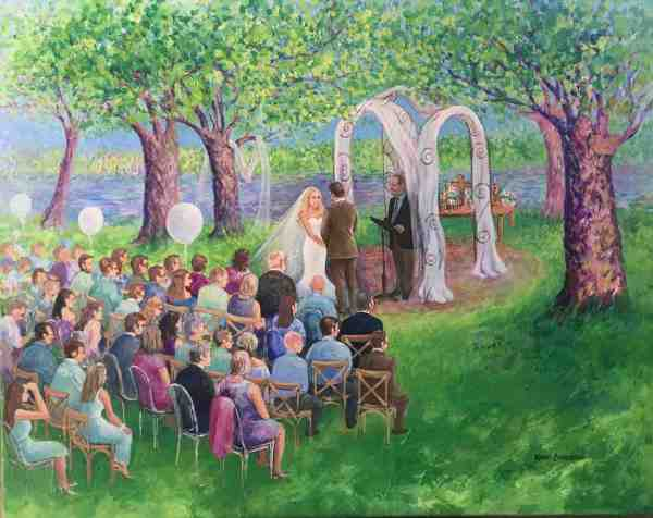 Live wedding painting at Duck point