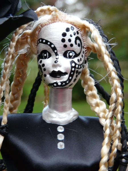 Close-up of zentangle altered Barbie