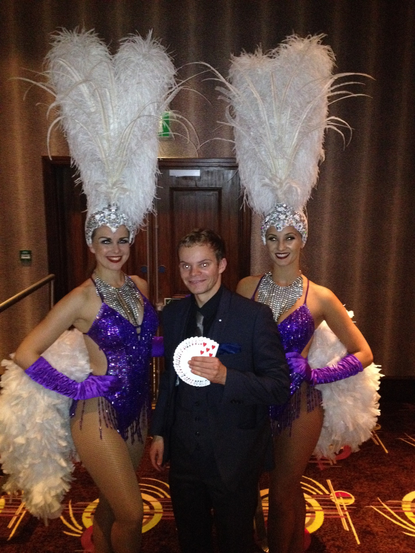 Manchester Magician Danny Jewell with showgirls at 235 Manchester Casino