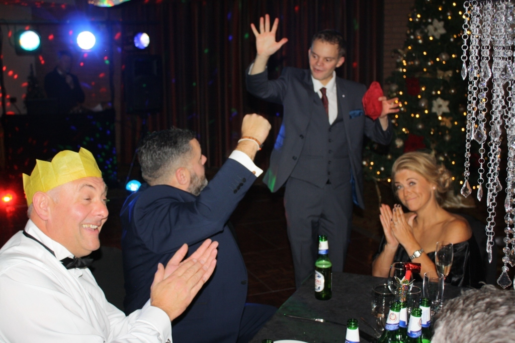 Manchester Magician Danny Jewell having fun at a corporate christmas party at Tarporley hotel