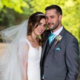 Happy couple at a wedding reviewing manchester magician Danny Jewell