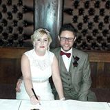 Happy clients reviewing Danny Jewell after performing at their wedding at Belle Epoque, Knutsford