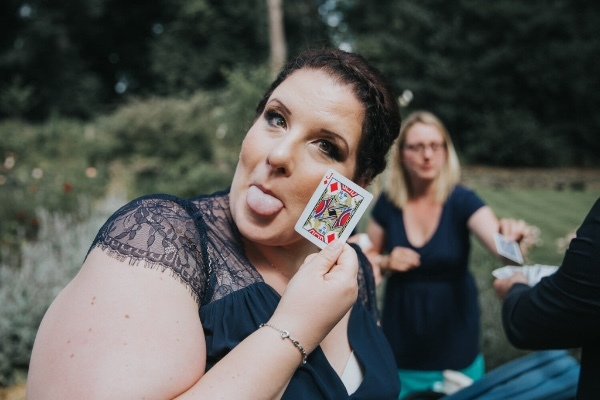Wedding guest entertained by Manchester magician