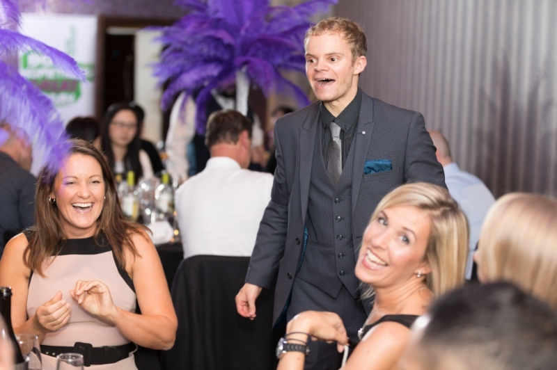 Corporate magician Danny Jewell baffles guests enjoying a christmas party night in Manchester