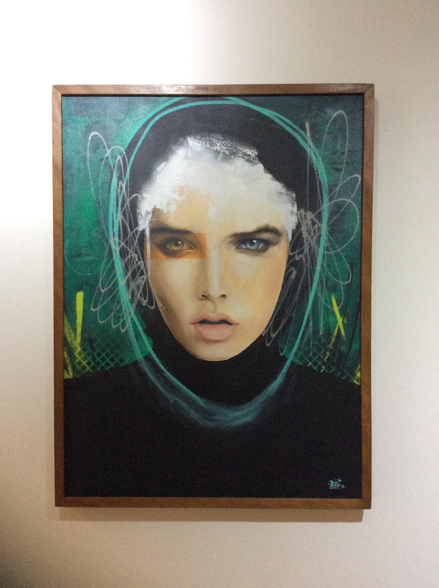 Envolvimento - Tamanho: 80x60 cm Técnica: Acrilica e spray sobre tela -  Indisponível