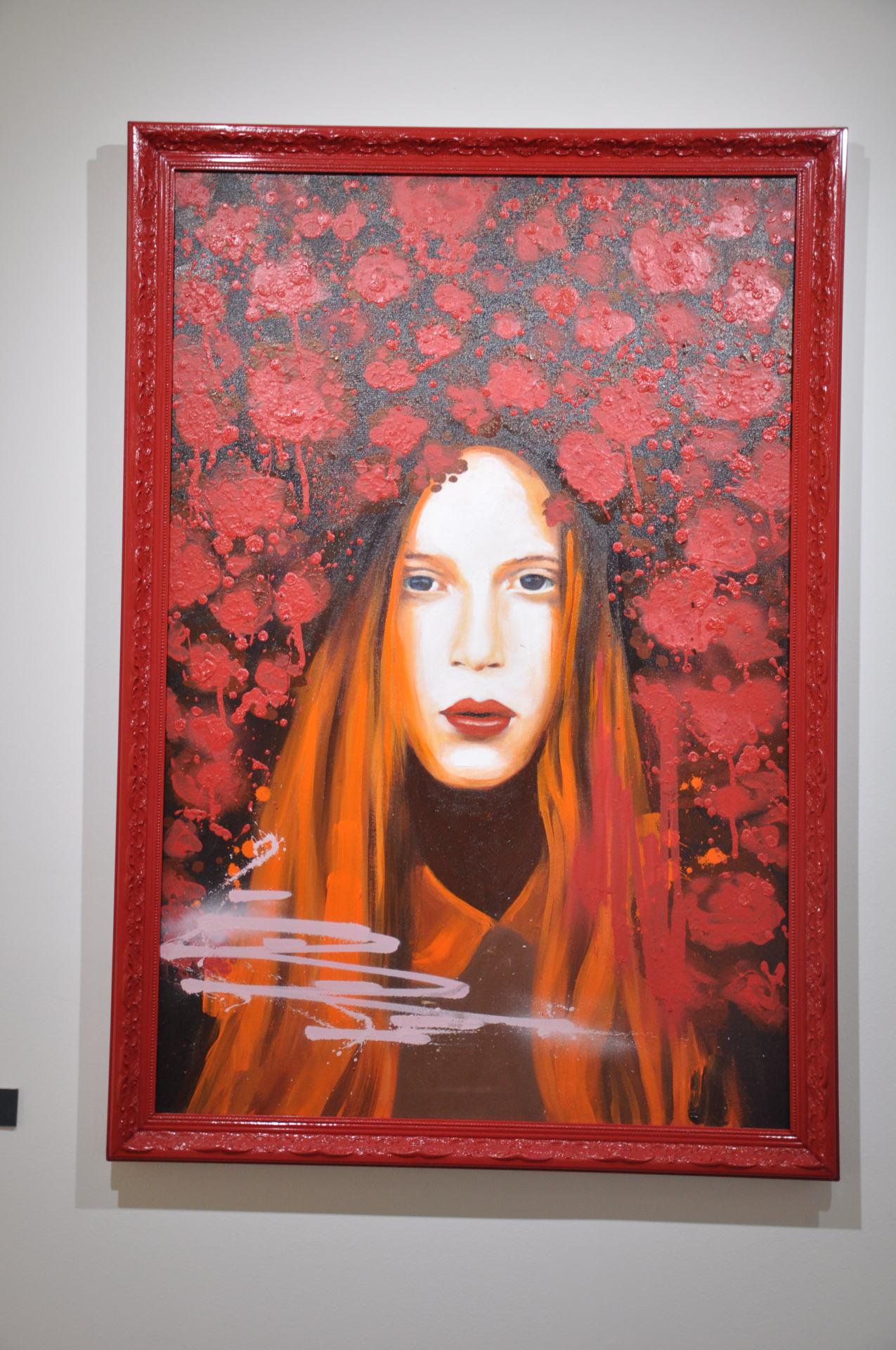 Entre flores / Tamanho: 90x60 cm Técnica: Acrilica e spray sobre tela - Disponível