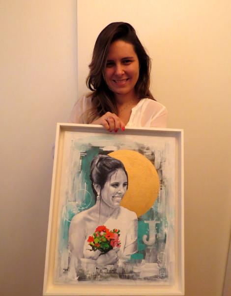 Juliana Couto (obra sob encomenda)  - Tamanho: 70x40 cm Técnica: Acrilica e spray sobre tela - Indisponível