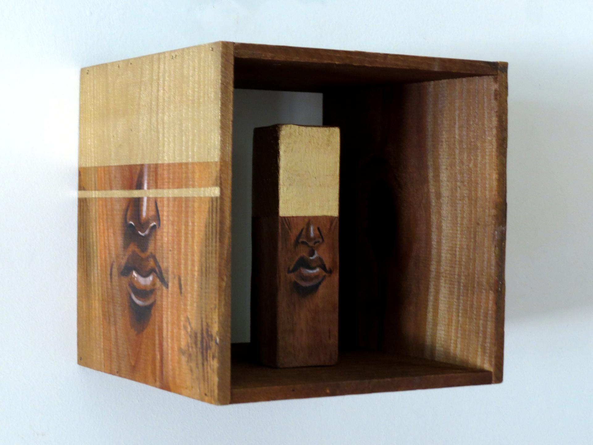 Ao Cubo / Tamanho: 10x10 cm Técnica: Acrilica e spray sobre madeira - Indisponível