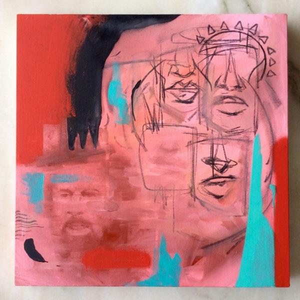 Afro poder / Tamanho: 30x30 cm Técnica: Acrilica, spray e carvão sobre tela - Disponível