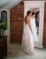 lace tiers, lace ruffles, mother's wedding dress, recreated heirloom gown, wedding dress alterations, antique wedding dress, silk hemp, tiers of lace, low back, thin straps, sweetheart neckline