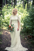 wedding gown with cape, modest gown, silk and lace, bohemian bride, shoulders covered wedding gown, forest wedding, natural hair, lace sheath gown