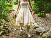 Organic Cotton Sateen,  vegan, fun flirty short wedding gown, teirs of mixed eco fabrics, edged with handmade organic cotton lace, champagne lace