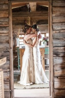 moab bride, desert wedding, cabin wedding, rustic wedding, lesbain brides, two wedding dresses, brides hugging, natural wedding, eco, organic, sustainable, true love