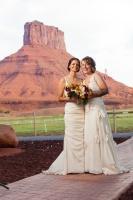 lesbian brides, coton wedding, moab, 2 brides, organic wedding, same sex wedding, two brides in gowns