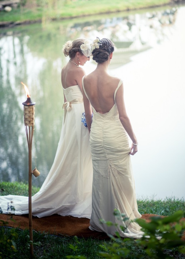2 brides, natural wedding, two wedding dresses, low backed wedding gown, ruched dress, rushing, sheath cut gown