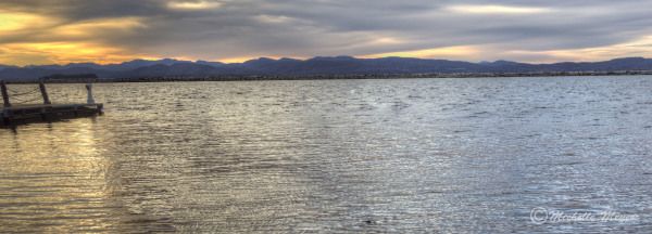 Mountains with Lake Champlain at Sunset