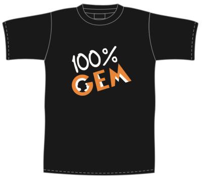 T-shirt preta com frente 100% GEM