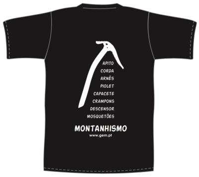 T-shirt preta com verso MONTANHISMO PIOLET