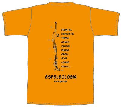T-shirt laranja com verso ESPELEOLOGIA TOPO