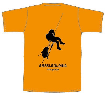 T-shirt laranja com verso ESPELEOLOGIA RAPEL