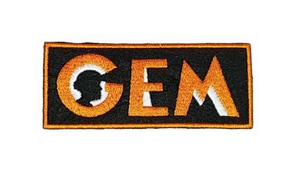 Logotipo GEM em tecido bordado 100x40mm: 4€