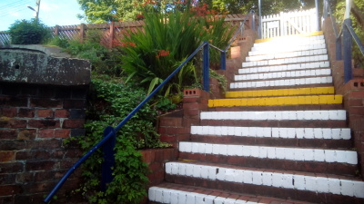 Freshly painted Staircase and plants