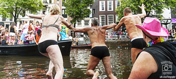 jumping into in an Amsterdam canal