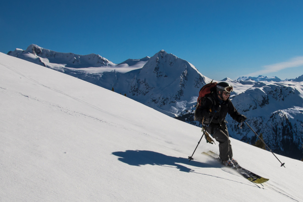 Skiing the south side of Decker