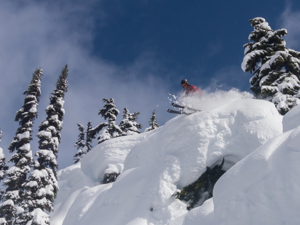 Skiing pillow lines in Whistler backcountry