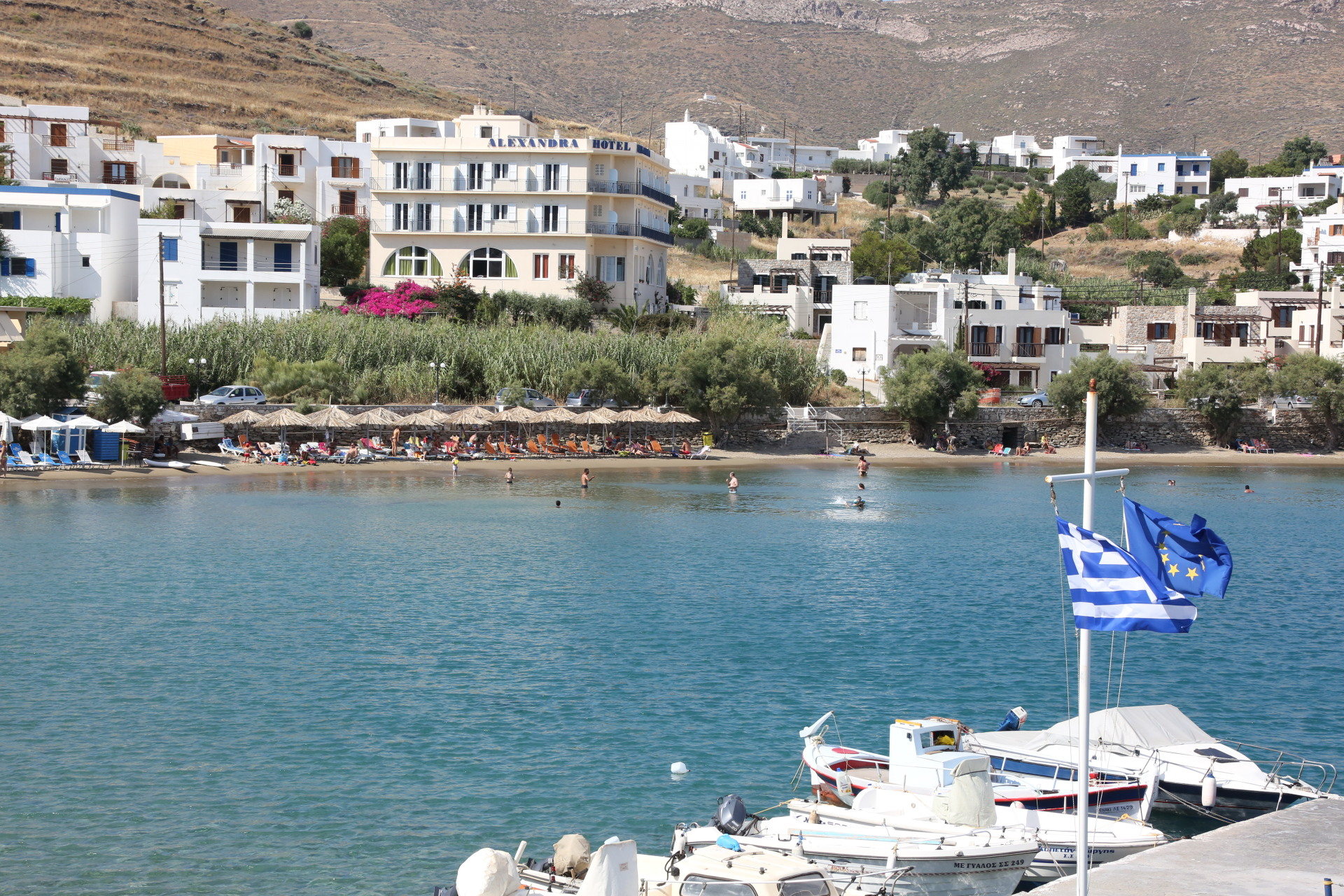 beach in syros , hotel next to beach , syros