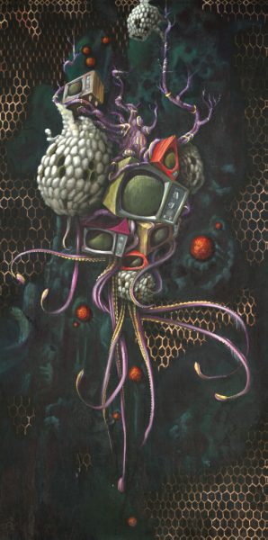 surreal illustration oil artwork drawing practice spiritual talent talented great amazing fantastic practice learn DDEF Dream Daringly execute fearlessly studio artwork patrick wadl hofmeister san jose california TV T.V. television brainwash hypnosis hypnotize waves green illusion SHH be quiet hidden message screen sex buy advertising kill microwave radio pattern box nightmare truth crazy tentacle octopus beehive mentality honeycomb monster floating flying deep sea see