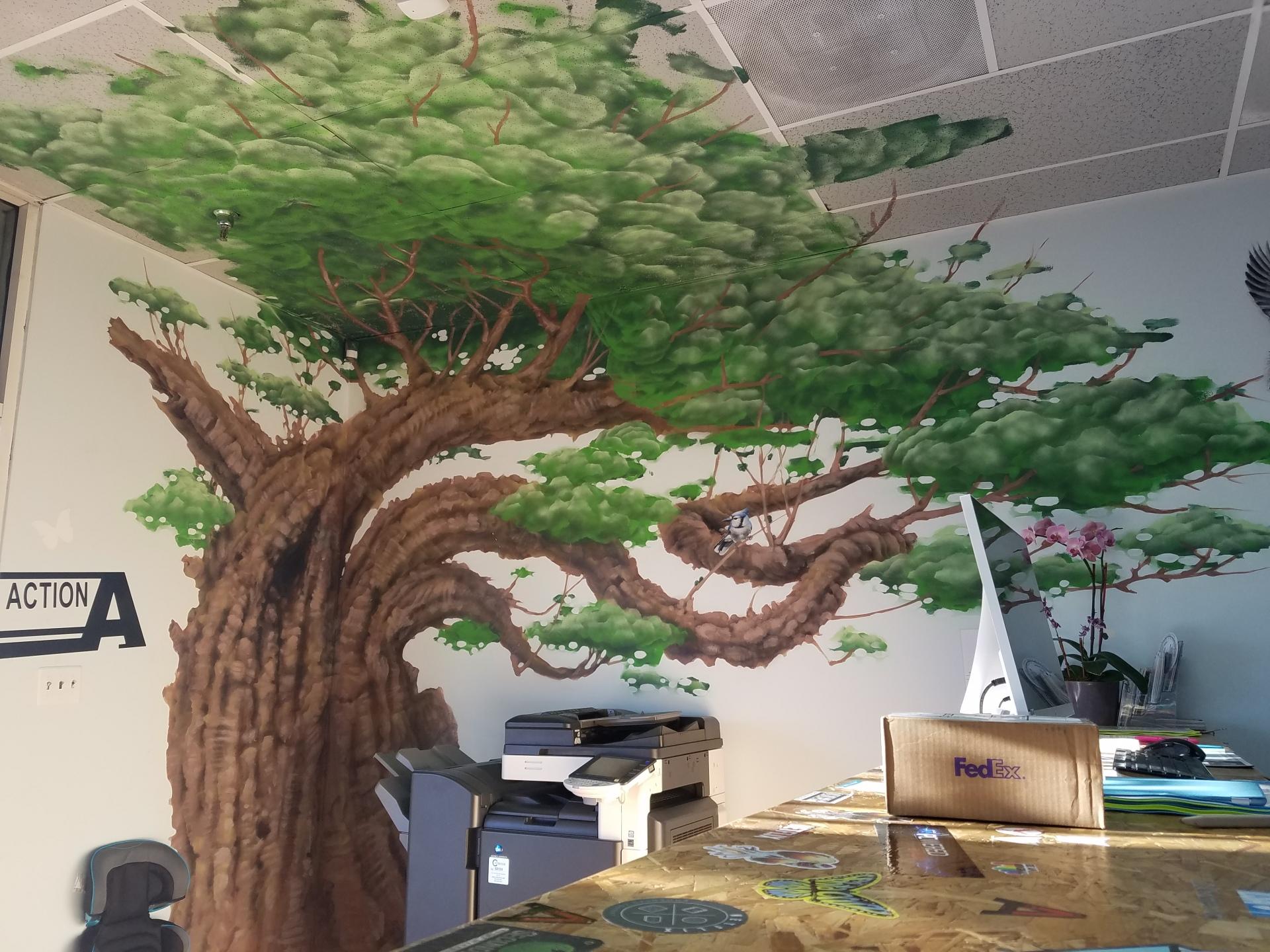 Tree mural 100sqft located at Big Ink Printing in San Jose, Ca 2014