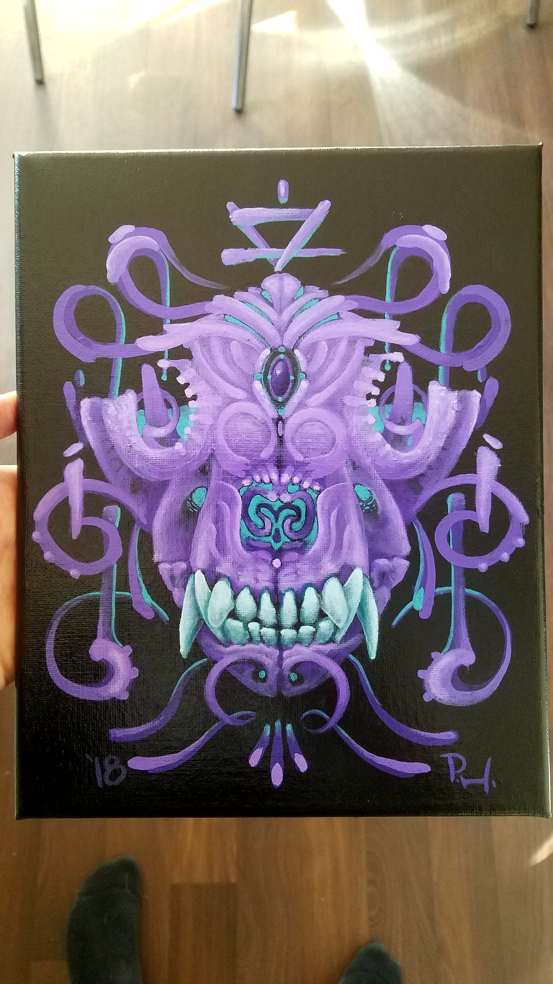 Beatle Stag bug art painting surrealist surreal orange teal filigree orbs gold earth dog alchemy alchemist skull symbol succulent black hofmeister ddef san jose california artist painter dream