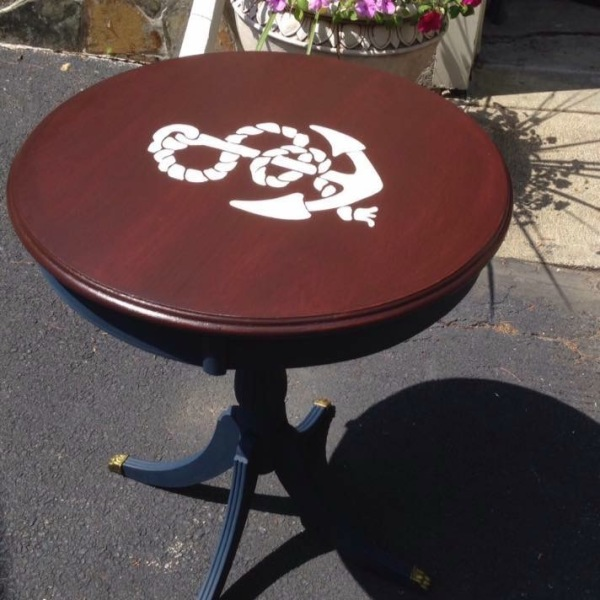 Antique Claw Foot Table with Anchor