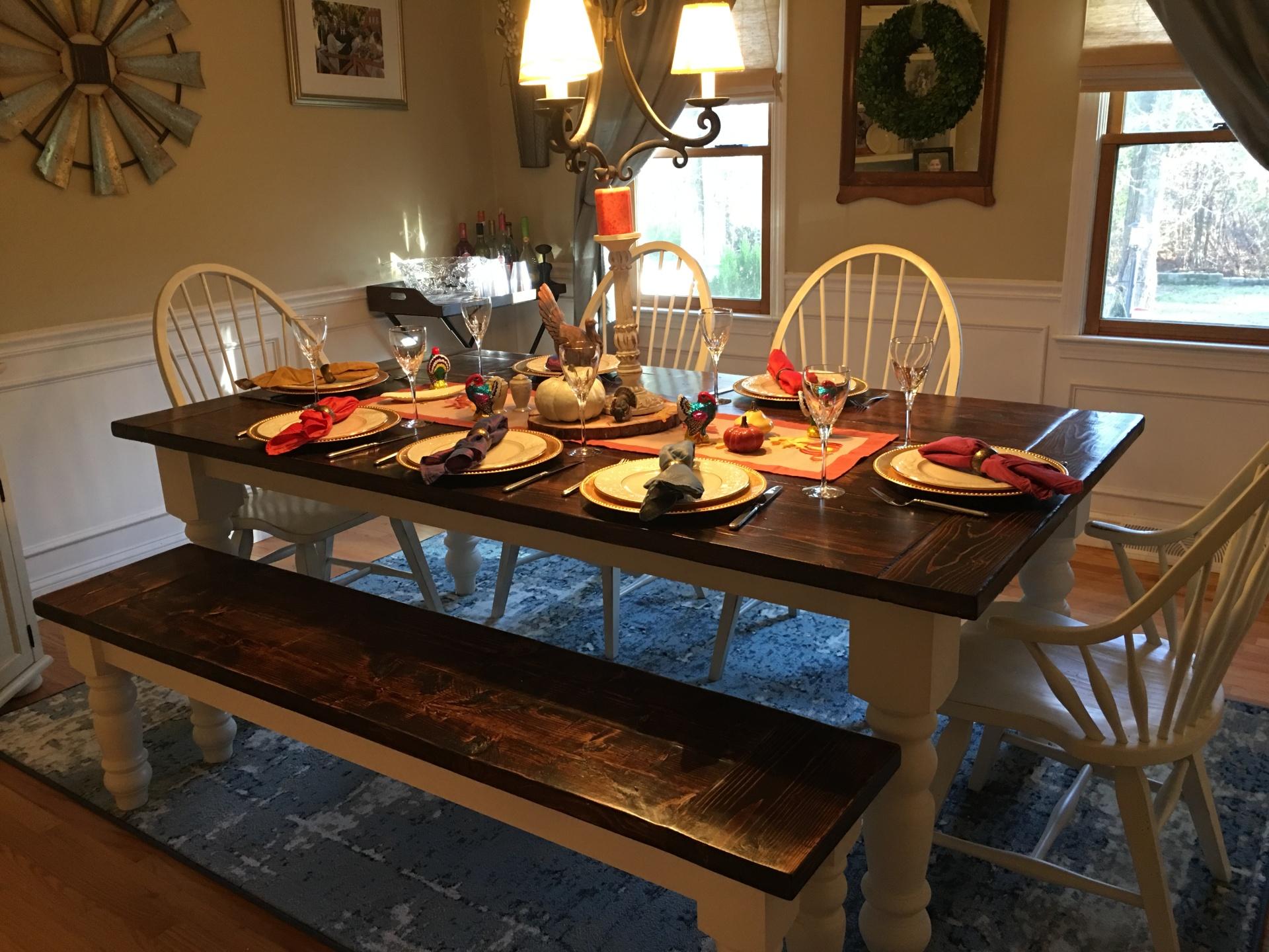 Custom Farmhouse Table and Bench