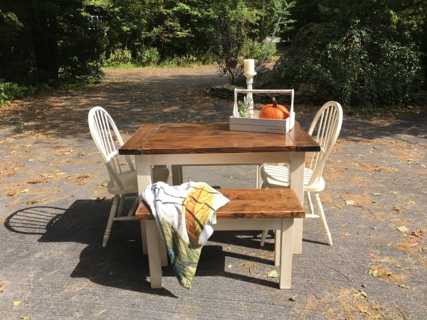Custom 4 Foot Farmhouse Table and 2 benches - Tuscan Style